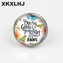 XKXLHJ New Bible Verse Ring Art Picture Glass Dome Charms Scripture Quote Jewelry Christian Gifts