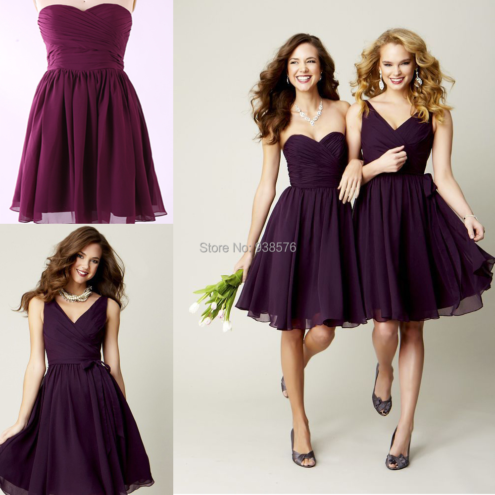 Royal Purple Maid Of Honor Dresses - Short Hair Fashions