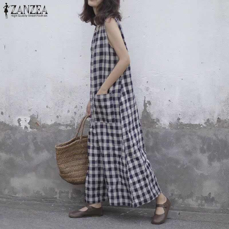 Лето 2019 г. ZANZEA женский Клетчатый плед без рукавов широкие брюки комбинезоны винтажные Свободные повседневные мешковатые комбинезоны большого размера