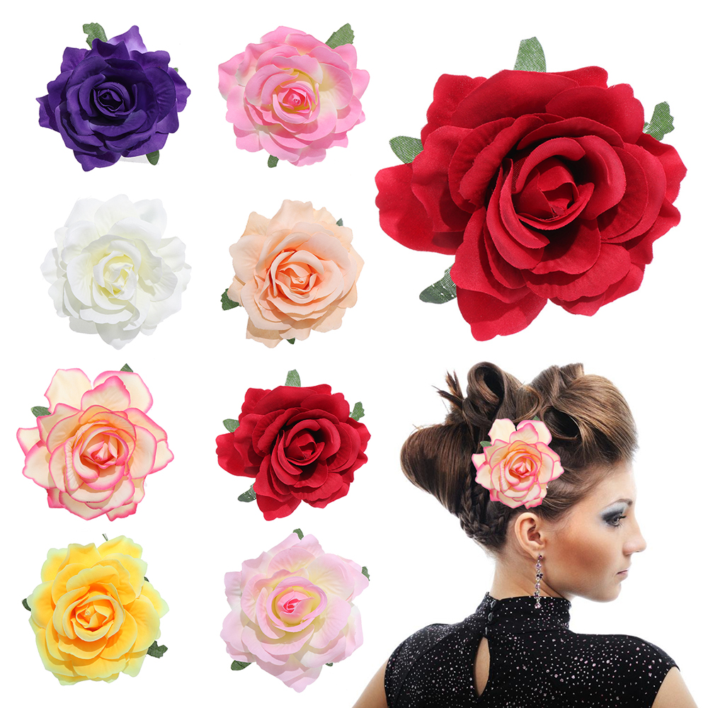 1PC Women Rose Flower Hairpin Hair Clips Bridal Wedding Party Headdress Headwear Brooch Festival Party Hair Accessories