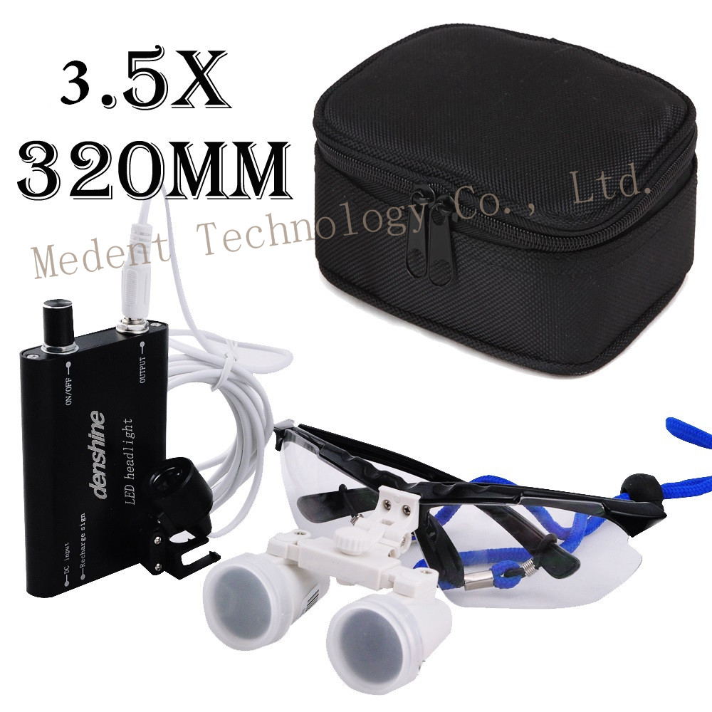Hot selling 3.5X320mm Dentist Dental Surgical Medical Binocular / magnifier Loupes Optical Glass + LED Head Light Lamp R+Y red free shipping new 2 5x420 magnifier dentist dental surgical binocular loupes optical and portable led head light lamp 2015 a