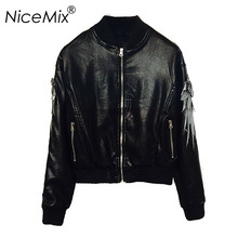 NiceMix 2017 Autumn PU Leather Jacket Women Punk Motorcycle Bomber Wings Embroidery Streetwear Casaco Feminino