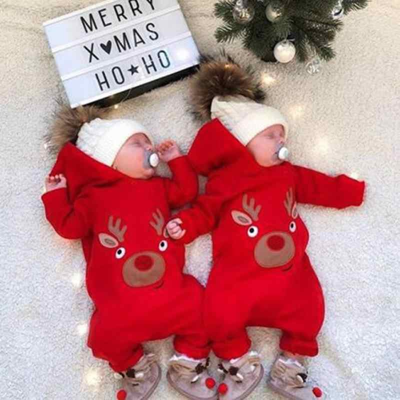 4cb6fcd2931 ... Newborn Baby Fleece Cartoon Elk Hooded Rompers Cute Cartoon Deer Shape Jumpsuit  Christmas Clothing for Newborn ...