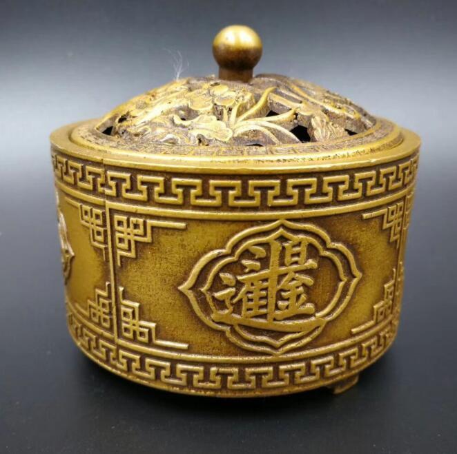 Chinese pure brass fine imitation archaize lotus incense burnerChinese pure brass fine imitation archaize lotus incense burner