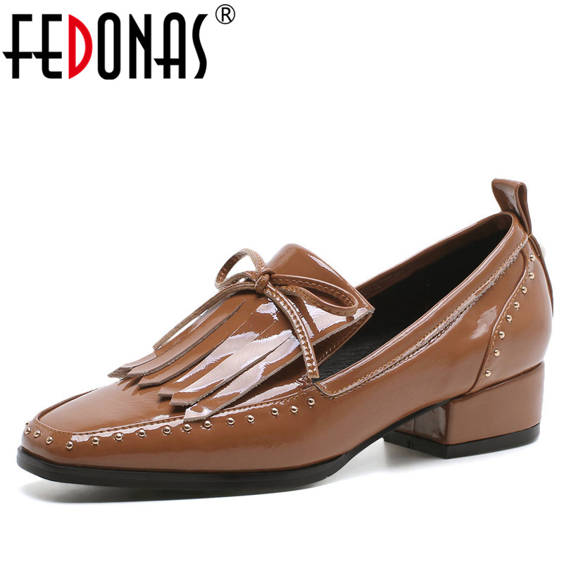 FEDONAS Retro Women Pumps Butterfly-knot Tassels Round Toe High Heel Genuine Leather Shoes Woman Rome Casual Fashion Pumps fedonas women pumps 10 5cm thin high heel summer velvet butterfly knot wedding party shoes woman fashion elegant buckles shoes