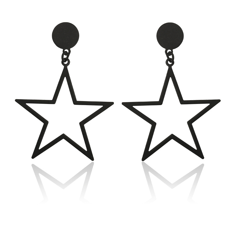 Black Silver Gold Color Star Geometric Zinc Alloy Stainless Steel Trendy Cute Romantic Women Earrings