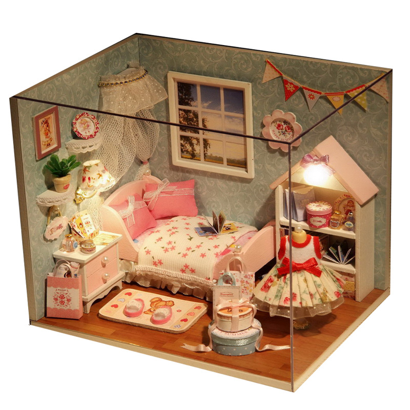 1 Set DIY House Toy Doll House With Miniature Furniture & LED Light Sweet Toys For Girls Birthday Gifts 4 Type Choose