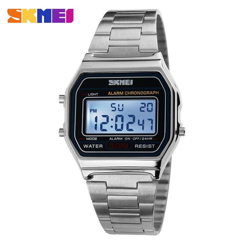 SKMEI Luxury Brand LED Digital Sport Watch Fashion Casual Gold Wrist Watch Men Stainless Steel Military Waterproof Wristwatches