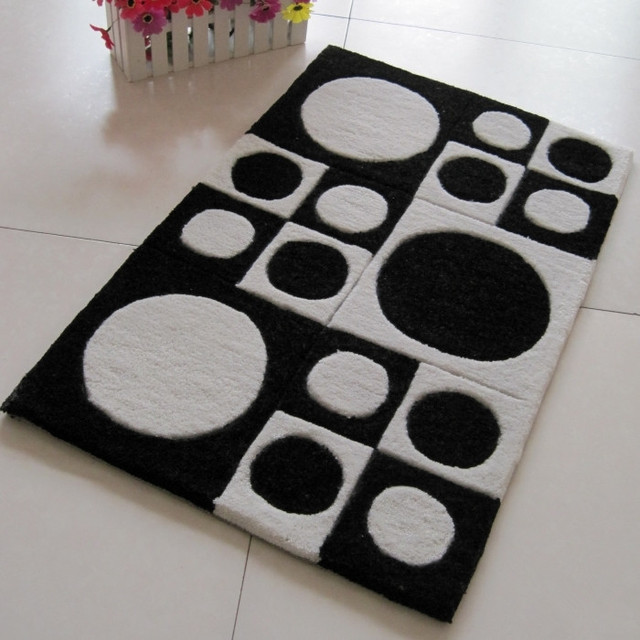 Geometric Patterns Acrylic Carpet Black Alfombras Tapete Rug For A Living Room Rugs And Carpets