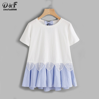 Dotfashion Striped Bow And Ruffle Hem Mixed Media Tee Summer Round Neck Short Sleeve Casual T