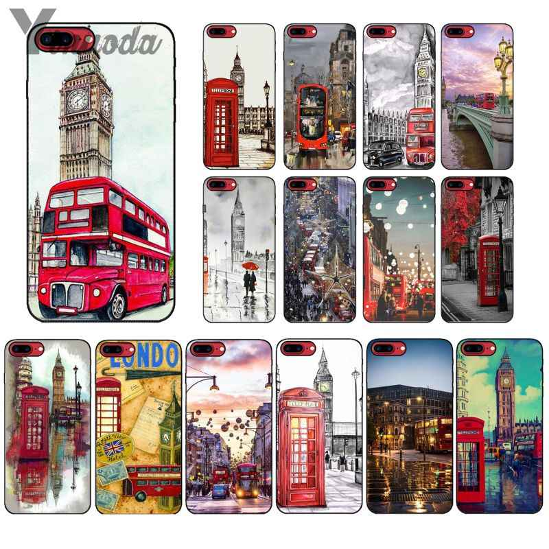 Yinuoda style london bus england telephone vintage Phone Cell Phone Case for iPhone X XS MAX 6 6S 7 7plus 8 8Plus 5 5S XR