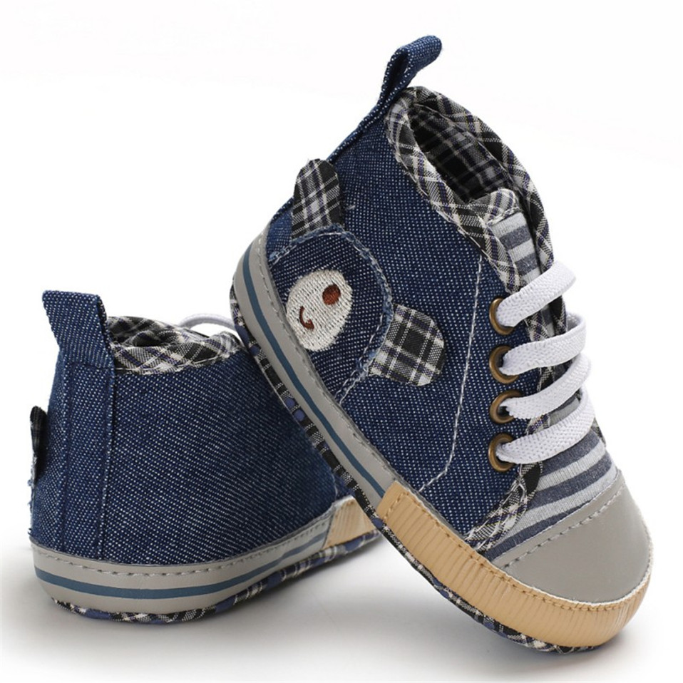 Denim Baby Shoes For Newborn Baby Boys Canvas Plaid Casual Baby Boys Girls Shoes Autumn Cotton Soft Soled First Walkers