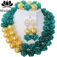 Majalia Classic Nigerian Wedding African Jewelry Set Army green Crystal Bead Necklace Bride Jewelry Set Free Shipping 2JS006
