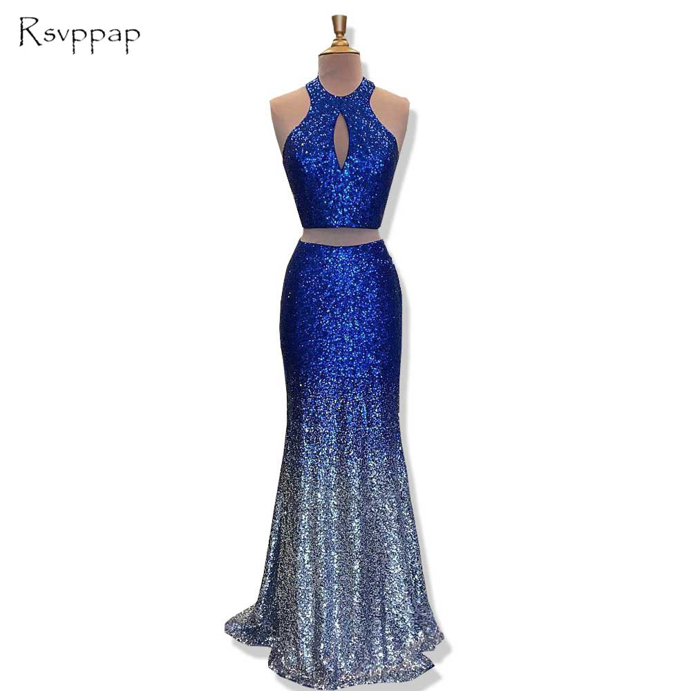Long Glitter   Prom     Dresses   2018 Mermaid Scoop Sleeveless Royal Blue and Sliver Two Piece African   Prom     Dress