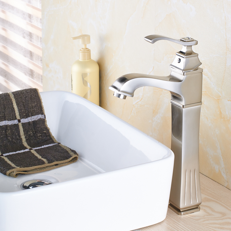 Nickel Brushed Countertop Bathroom Sink Faucet Single Handle Mixer Tap Basin Faucet with Cover Plate modern nickel brushed bathroom basin faucet single handle vessel sink mixer tap