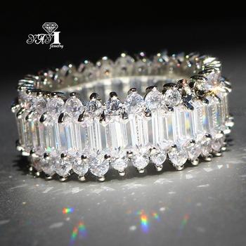 YaYI biżuteria księżniczka Cut 5 9 CT wielu cyrkon kolor srebrny pierścionki zaręczynowe obrączki obrączki ślubne dziewczyny pierścionki Party prezenty tanie i dobre opinie Moda Zaręczyny Zespoły weselne Kobiety Cyrkonia TRENDY Prong ustawianie yayi jewelry HR752 Geometryczne 15mm Miedzi Brak