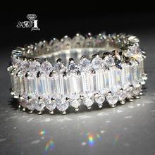 YaYI biżuteria księżniczka Cut 5 9 CT wielu cyrkon kolor srebrny pierścionki zaręczynowe obrączki obrączki ślubne dziewczyny pierścionki Party prezenty tanie tanio Moda Zaręczyny Zespoły weselne Kobiety Cyrkonia TRENDY Prong ustawianie yayi jewelry HR752 Geometryczne 15mm Miedzi Brak