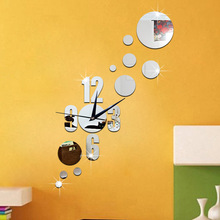 Green 3D silent clock bedroom digital dot combination mirror wallsticker Acrylic Home Decoration
