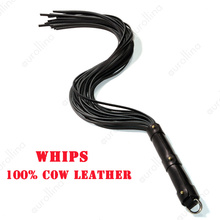 Genuine Cow Leather Whips BDSM Bondage Flogger Choker Adult Babydoll Games Real Sex Couples SM Game Tool