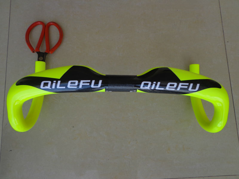 Newest fluorescein yellow QILEFU road bicycle UD 3K full carbon fibre bike handlebar lightest parts 31.8*400/420/440mm Free Ship newest raceface next sl road bike ud full carbon fibre saddle spider web mountain bicycle front seat mat mtb parts free shipping