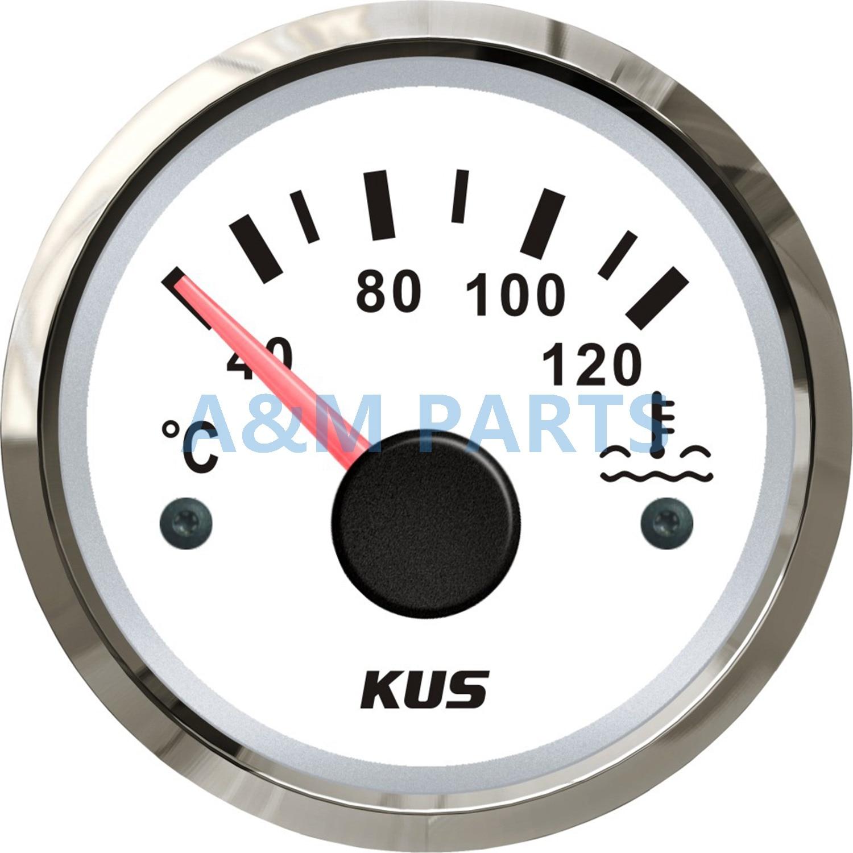 KUS Marine Engine Water Temperature Gauge Boat RV Car Temp Meter Gauge White 40-120 Degree цена