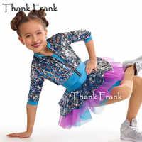 Крутое танцевальное платье для девочек, детский блестящий современный танцевальный костюм с блестками, джазовые костюмы с длинными рукава...