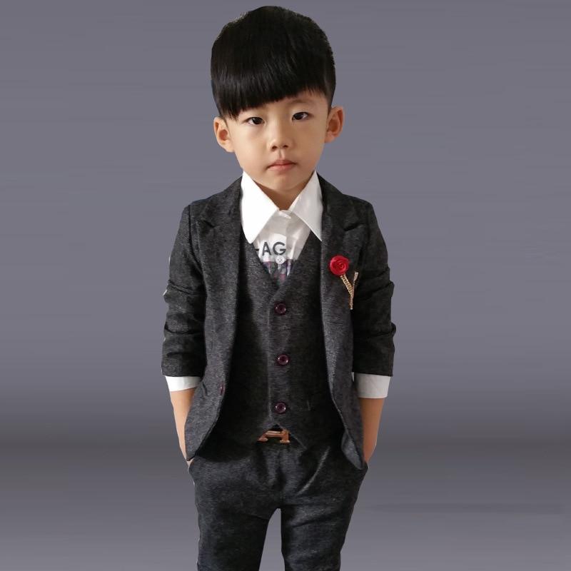 Child Costume Formal Boy Suit For Wedding Kid Little Clothing Set 4pcs Vest Jacket Pant Brooch Garment 2 12yrs In Sets From Mother Kids
