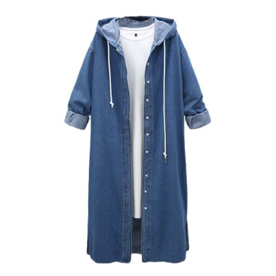 plus size new style hooded denim blue woman long   trench   spring autumn covered button wide-waist solid female long coat