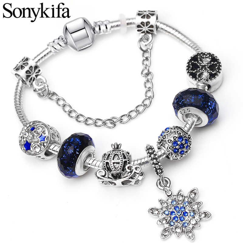 Sonykifa ドロップシッピングムーン & スターシルバーメッキチャームブレスレットクリスタルは Pandoro ブレスレット女性のためのジュエリー