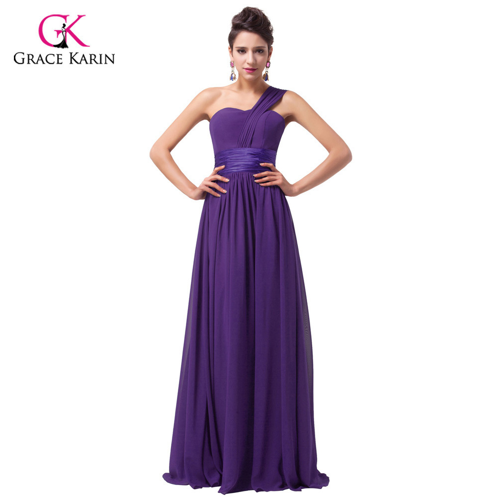 Long Bridesmaid Dresses 2018 Grace Karin Women One shoulder Royal ...