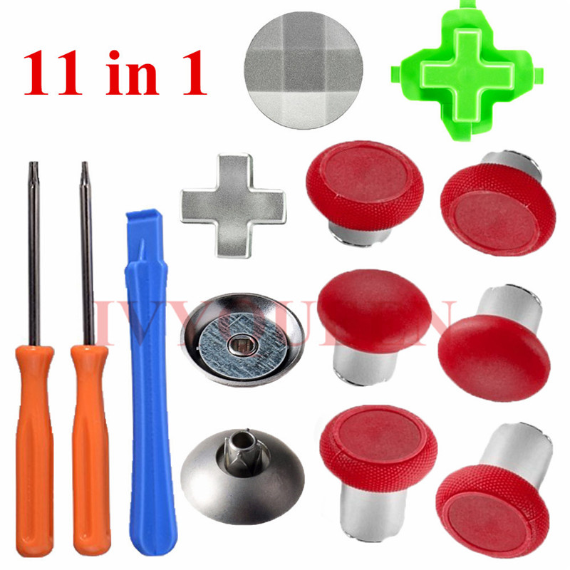 IVYUEEN 11 in 1 Magnetic Thumbsticks Grips for <font><b>XBox</b></font> One X S Elite Controller Swap Analog Sticks with Metal Dpads Button Mod Kit