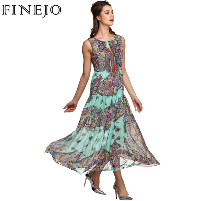 Finejo verão chiffon dress vestidos mulheres bohemian maxi dress o-neck mangas imprimir dress vestidos de festa elegante longo s-3xl