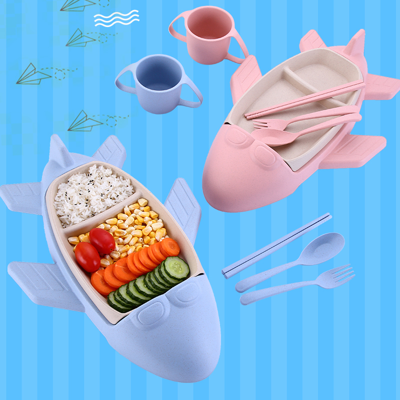 Купить с кэшбэком Cartoon Baby Dishes Bamboo Fiber Sub-grid Plates Creative Airplane Children Tableware For Infant Kids Feeding Dinnerware Sets