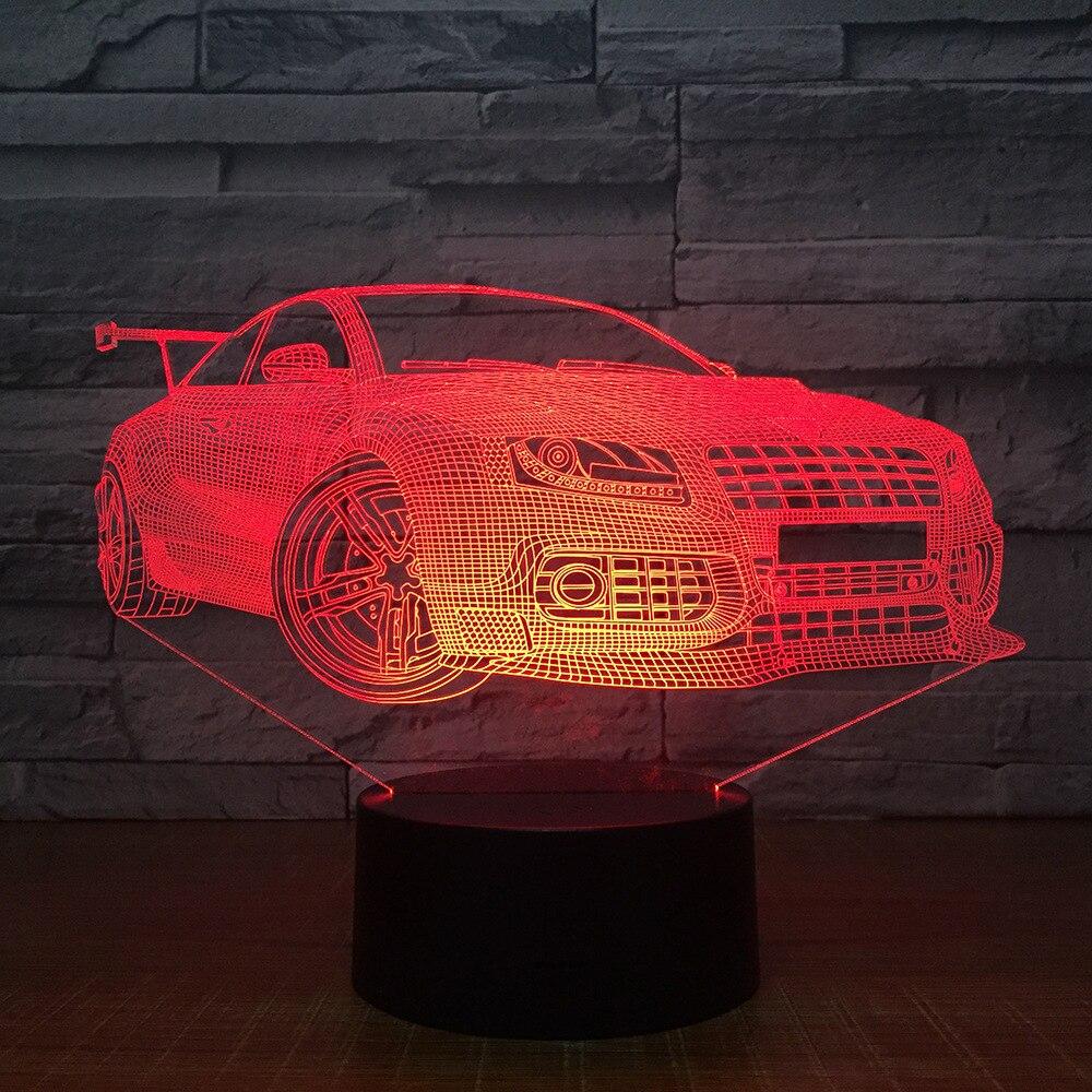Гонки спортивный автомобиль 3D ночник сенсорный выключатель 7 цветов Изменение светодиодный настольная лампа 5 В USB лампа домашний бар Книги ... ...