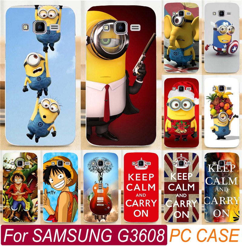 quality design fcb4d d0532 US $1.98  Cute Cartoon Despicable Me Yelllow Minions Piece PC Shell For  Samsung Galaxy Core Prime G3608 G3606 G360 Cell Phone Case Cover-in ...