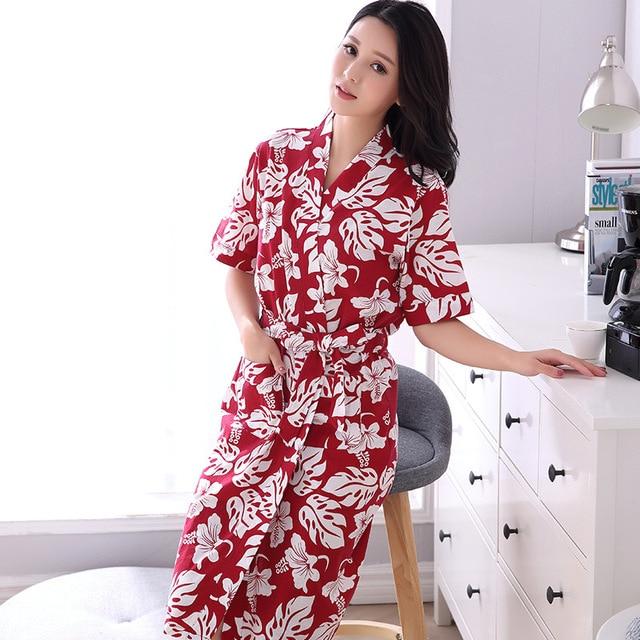 6577aee8418 Summer Cotton Sleepwear Floral Print Women s Robe Young Lady Nightgowns  Feminino Sexy Elegant Bathrobe Kimino Robes Lounge Gift