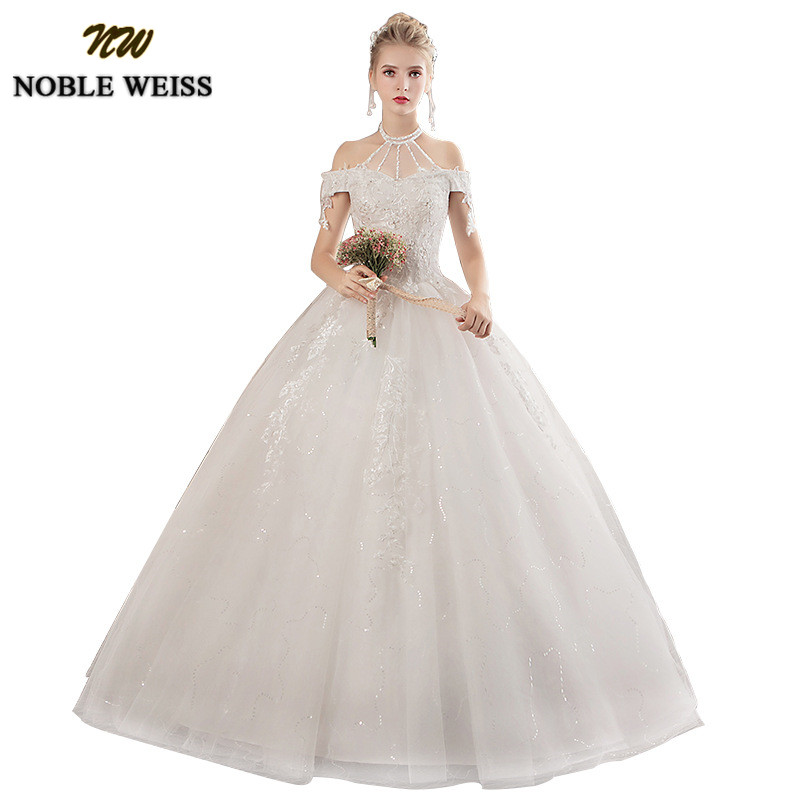 NOBLE WEISS Ball Gown Wedding Dresses 2019 Elegant Lace Appliques Beaded Bridal Gowns Off Shoulder Vestido De Novias Custom Made