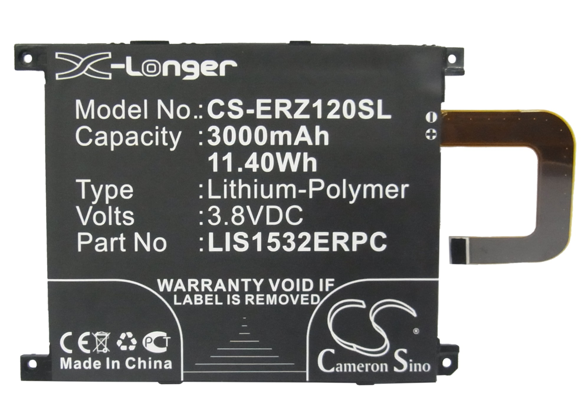 Cameron Sino 3000mAh Battery LIS1532ERPC for Sony Ericsson C6916, L39T, L39U, Xperia Z1 4G, Xperia Z1S