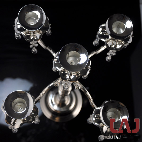 H50cm metal kristal dekorativ gümüş 5 qollu şamdan şamdan - Ev dekoru - Fotoqrafiya 3