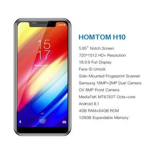 Image 2 - HOMTOM H10 الشق شاشة 4GB 64GB الهاتف المحمول الروبوت 8.1 ID الوجه 4G 5.85 الثماني النواة 3500mAh 16MP الجانب بصمة الذكية