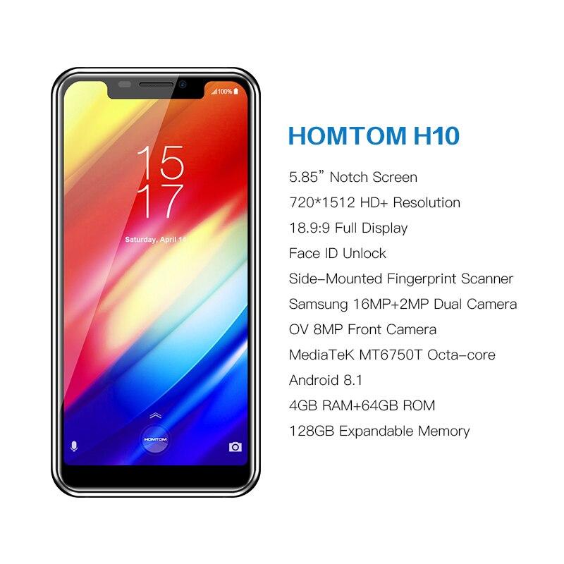 פנסים מופעלי סוללות HOMTOM H10 Notch מסך 4GB 64GB נייד טלפון אנדרואיד 8.1 Face מזהה 4G 5.85
