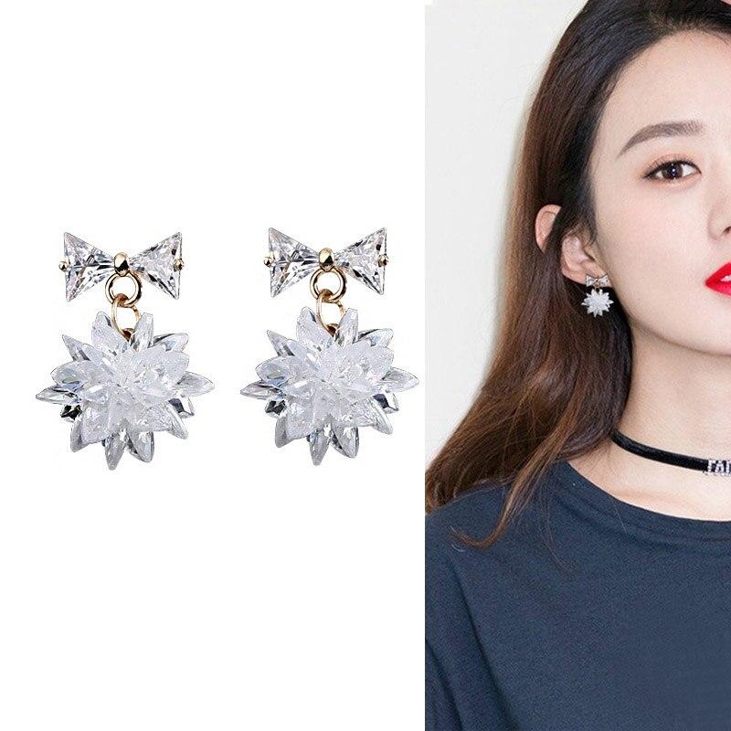Shiny Ice Crystal Flower Pendant Earrings Cube Zirconia Bowk Tie Stud Earrings Women Jewelry KQS8