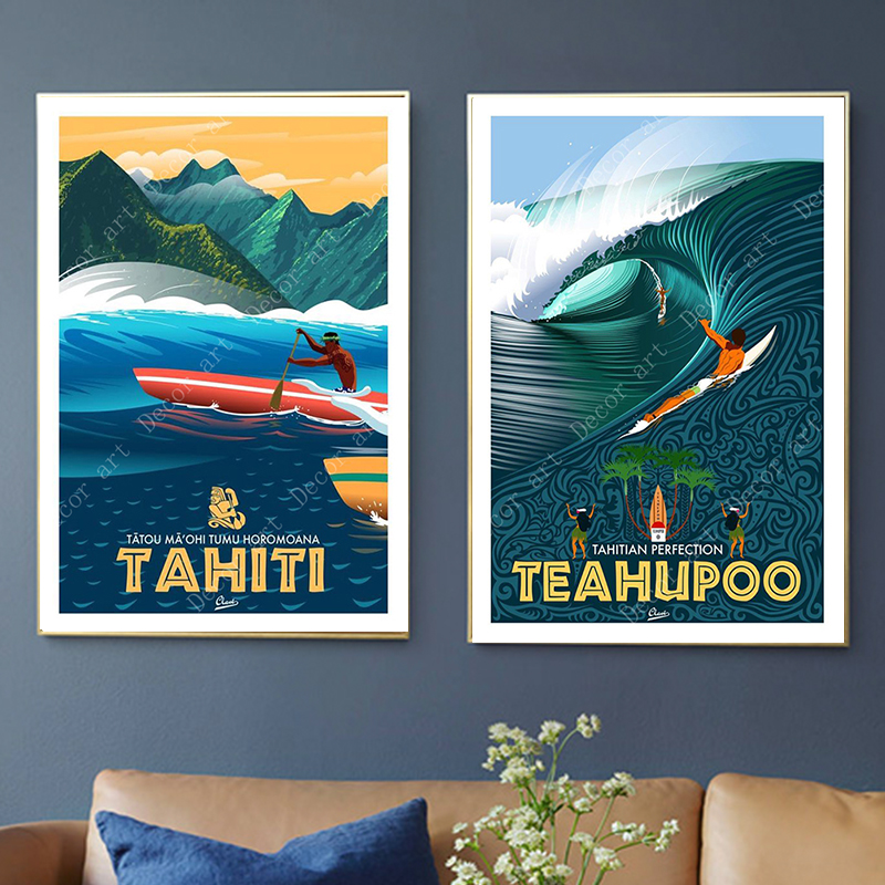 Surfing At Tahiti Holiday Pop Art Travel Canvas Painting Vintage Wall Kraft Posters Coated Wall Sticker Home Decor Picture Gift
