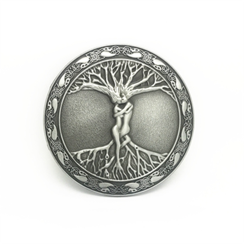 Wholesale Vintage Western Zinc Alloy Buckle Round Tree Of Life Belt Buckle For 4 Cm Belt Accessories