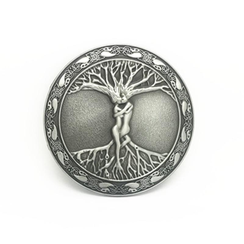 Wholesale Vintage Western Zinc Alloy Buckle Round Tree Of Life Belt Buckle For 4 Cm Belt Accessories