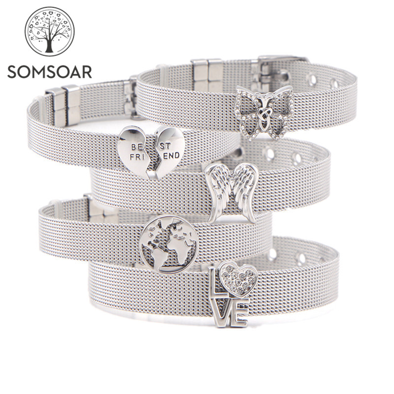 Somsoar Jewelry Silver Stainless Steel Mesh Bracelet Bangles With DIY Slide Charms Bracelets Mother's Day Gift