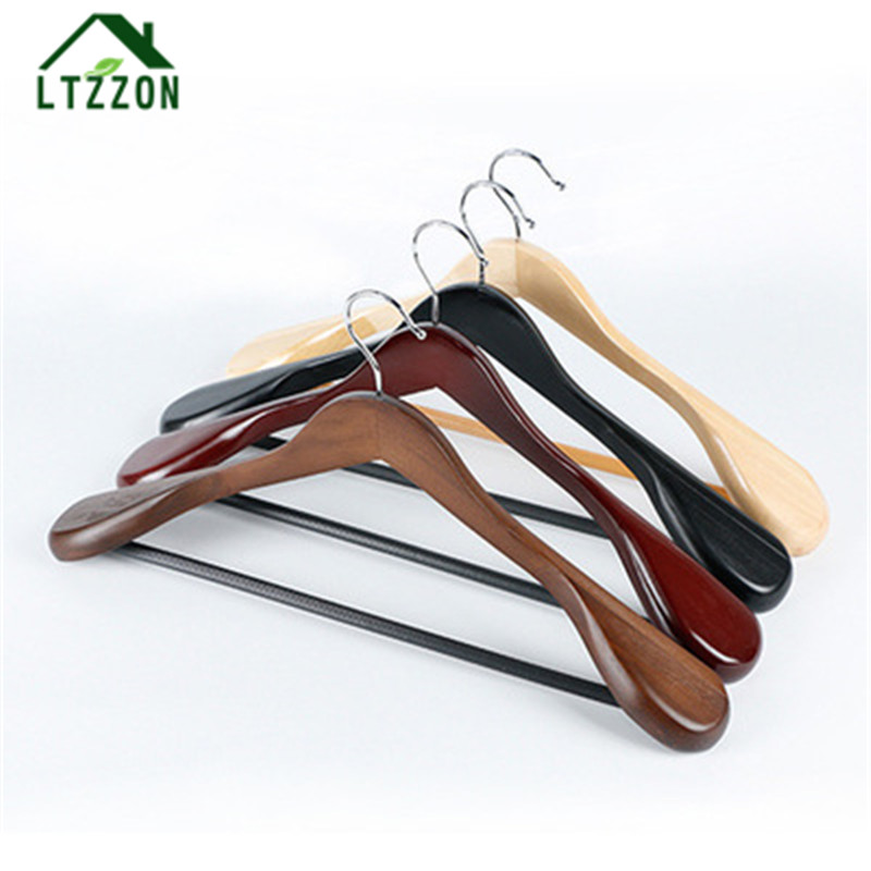 1Pc European Style Retro Suit Coat Wide Shoulder Solid Wood Hanger Anti-slip Wardrobe Solid Wood Drying Rack Dry Racks 4 colours ...