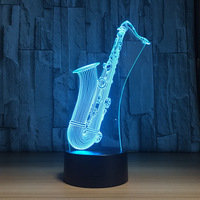 LED Night Light Saxophone USB 3D Lamp 7 Colors Sensor 3D Bedroom Lights USB 3 AA