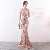 D055 rose gold sequined v neck sleeveless summer long floor length dress