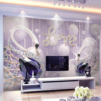 Beibehang مخصصة خلفيات 3d الحب بجعة المجوهرات خلفية الجدار 5d papel دي parede الجداريات الزخرفية خلفيات 8d كريستال اهتززت
